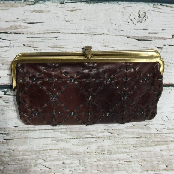 Hobo Bags Brown Leather Stitched Double Frame Wallet Poshmark